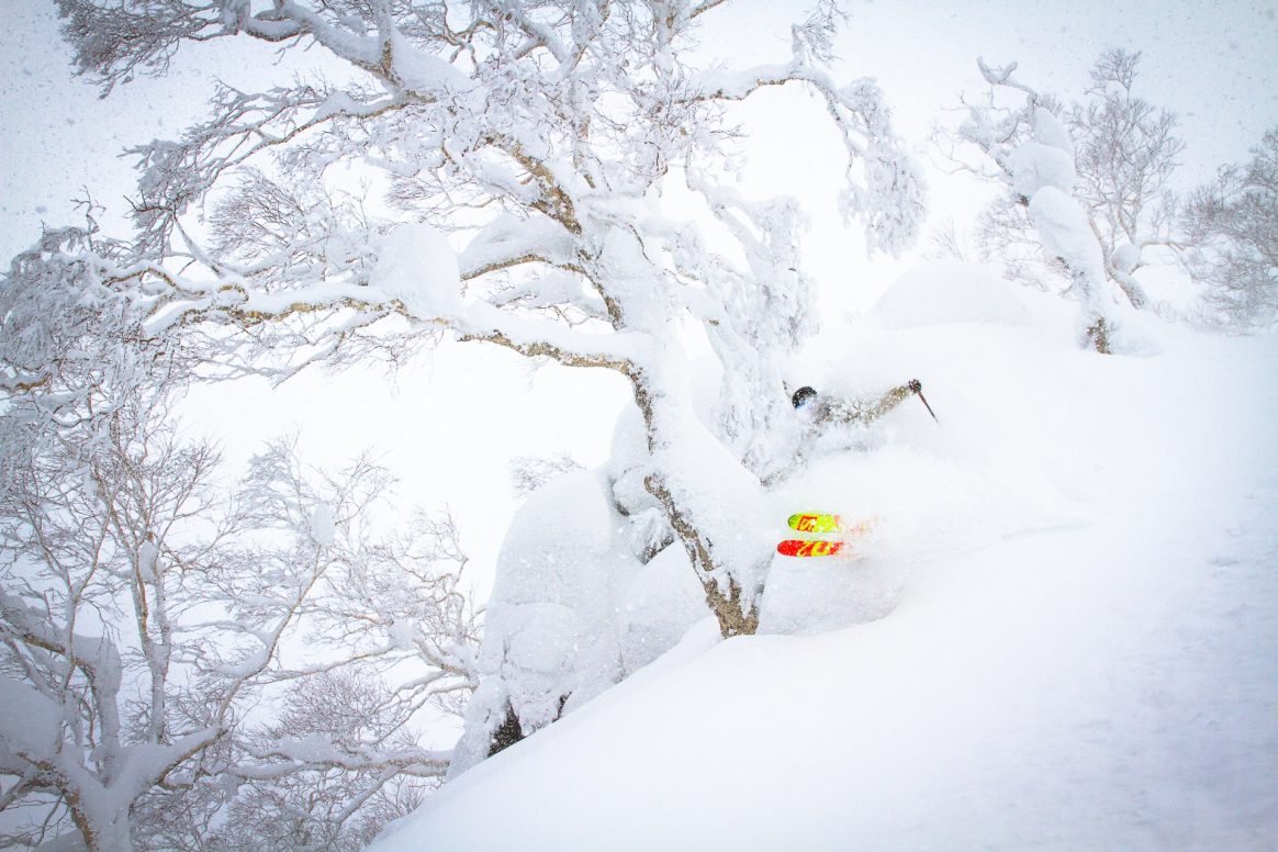 Jonah Williams skis a pillow line in Hokkaido, Japan.