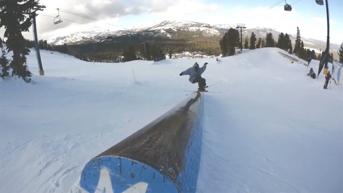 Phil Casabon slides a down tube in the early season Mammoth mountain terrain park.