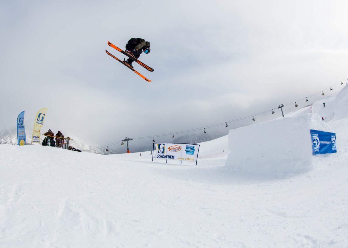 Sending a lofty cork 3 at the 2017 QParks Freeski Tour Battle Rojal at Snowpark Schöneben captured by PAtrick Steiner