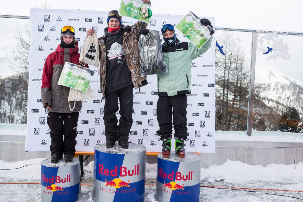 Mens podium at the QParks Freeski Tour Battle Rojal at Snowpark Schöneben 2017 captured by Patrick Steiner