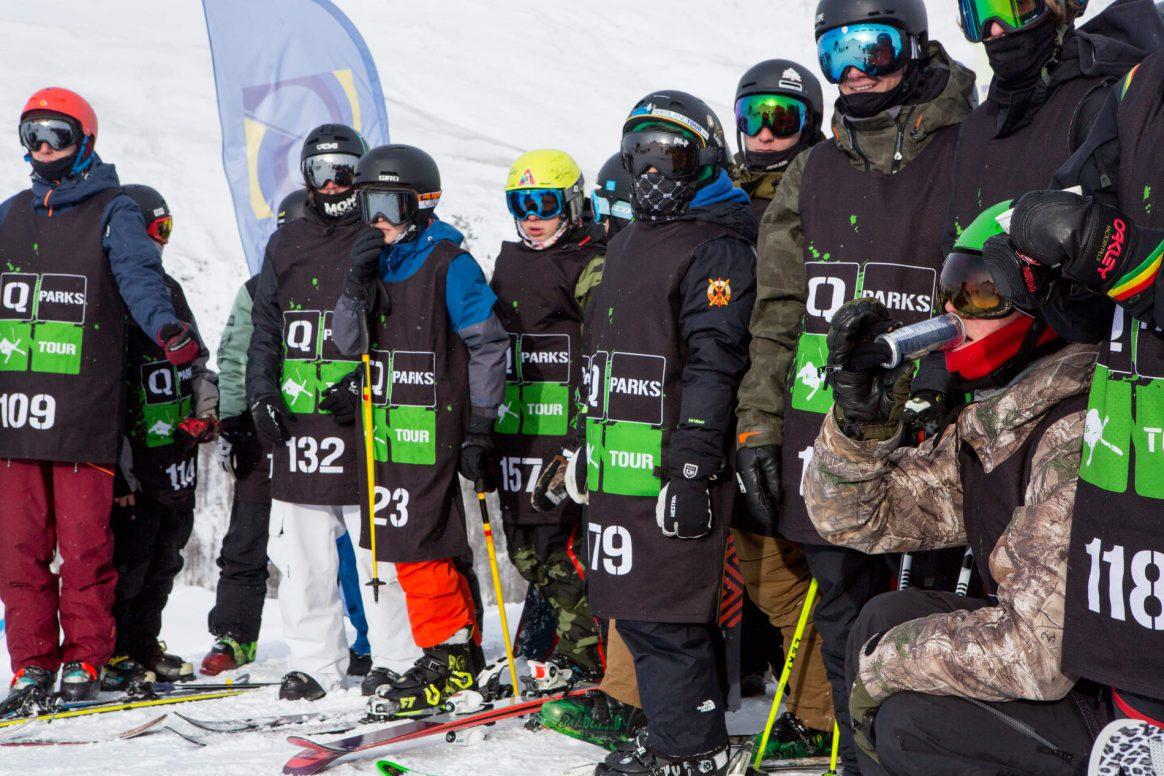 Ready to drop in for the QParks Freeski Tour Battle Rojal at Snowpark Schöneben 2017 csptured by Patrick Steiner