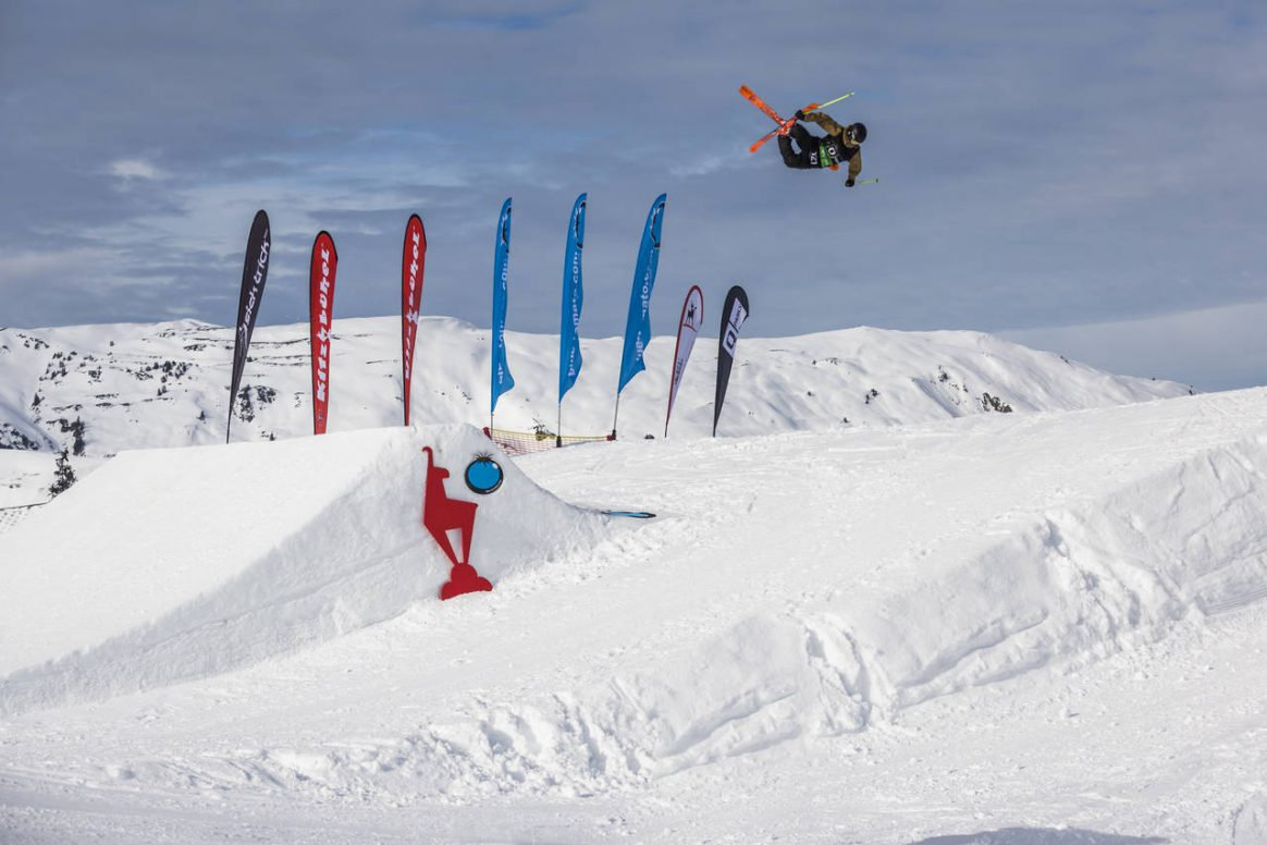 Sebastian Mall getting some airtime at Snowpark Kitzbühel