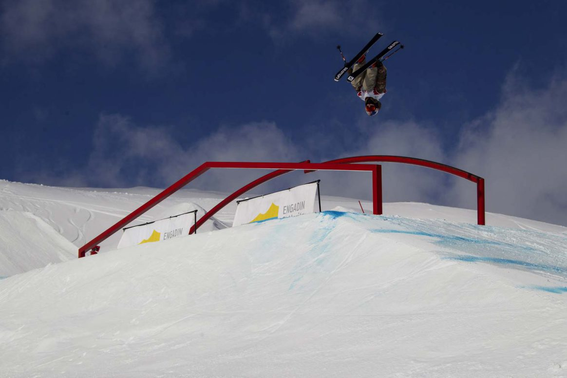 Oscar Wester mastering the rail section at the freestyle World Cup St. Moritz