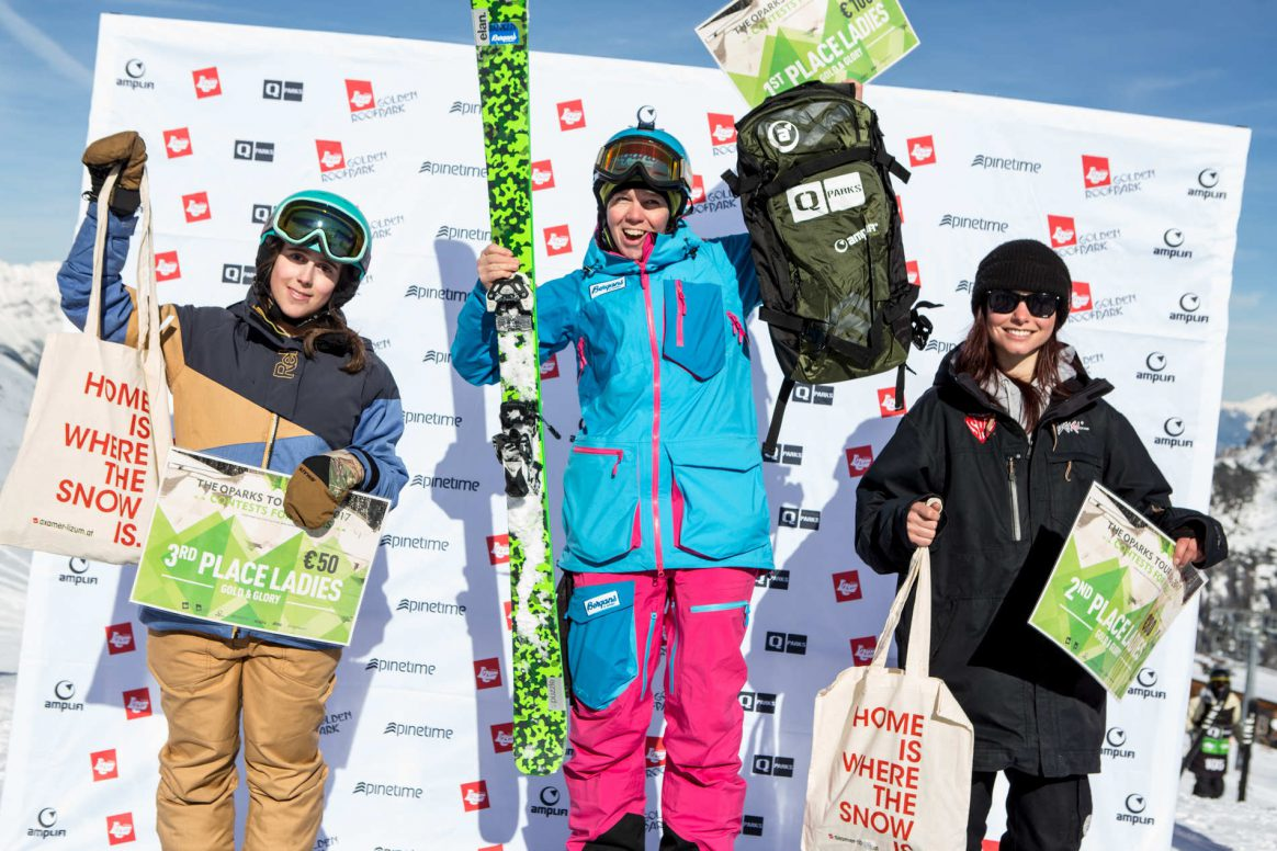 Womens podium QParks Freeski tour at Golden Roofpark Axamer Lizum