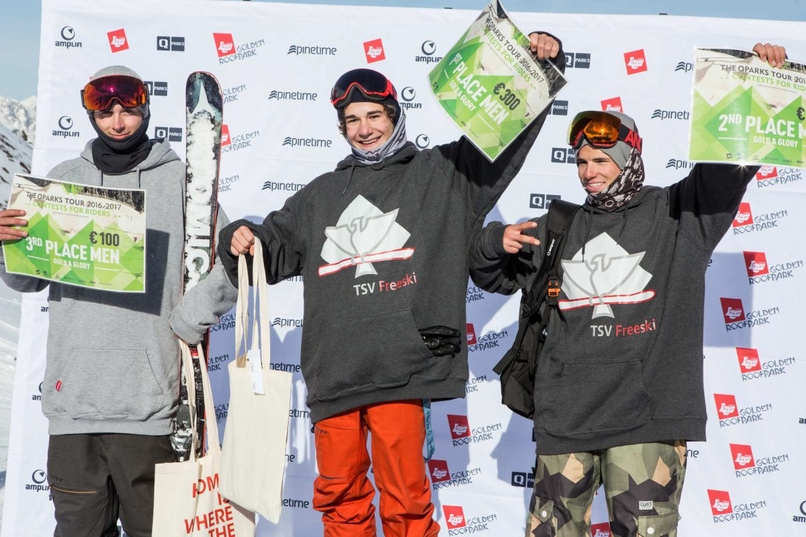 Mens podium QParks Freeski tour at Golden Roofpark Axamer Lizum