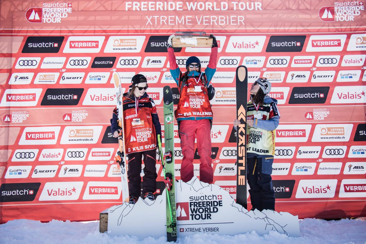 Freeride World Tour Verbier Xtreme Podium Women 1st place Eva Walkner, 2nd place Kylie Sivell, 3rd place Lorraine Huber