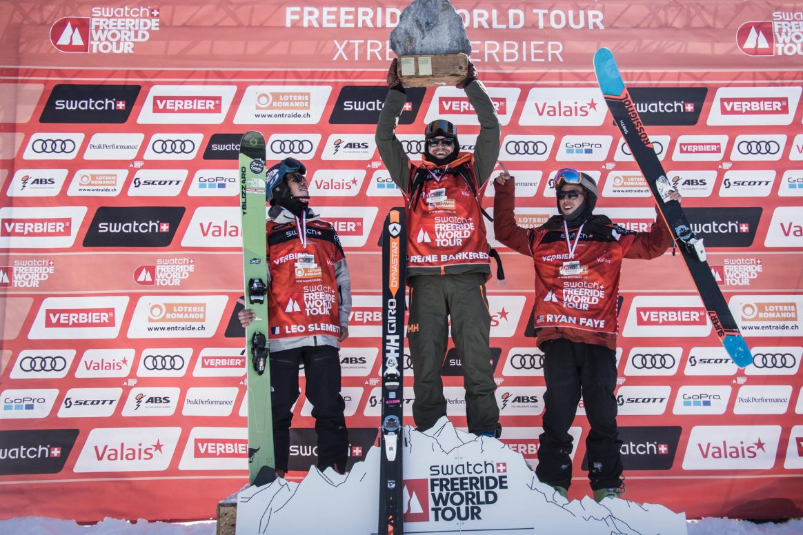 Freeride World Tour Verbier Xtreme Podium Men Ski 1st place Reine Barkered, 2nd place Leo Slemett, 3rd place Ryan Faye