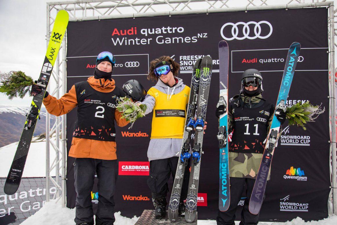 Winter Games NZ Men Podium James Woods, Andri Ragettli, Fabian Bösch