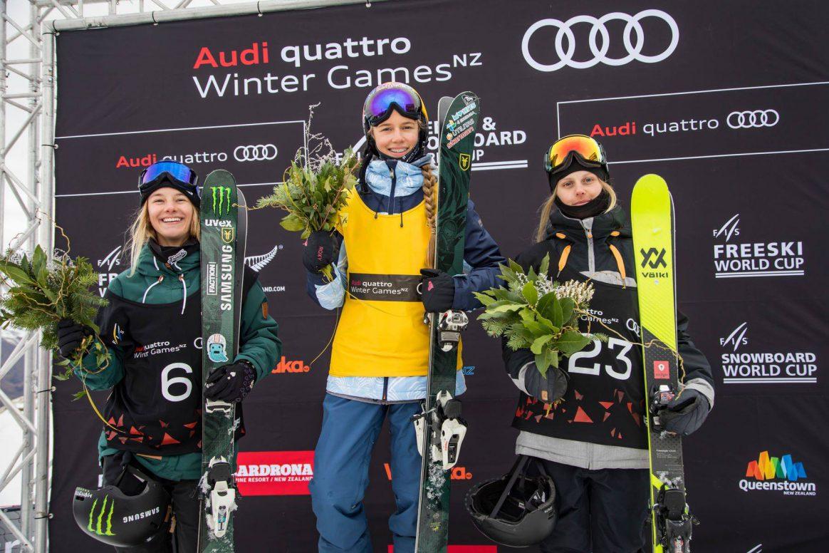 Winter Games NZ Women Podium Kelly Sildaru, Giulia Tanno, Jennie-Lee Burmansson