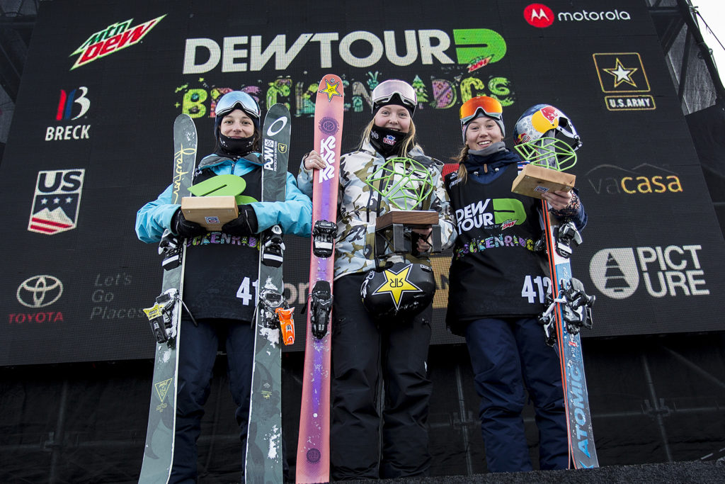 Womens Ski Slopestyle Podium Dew Tour