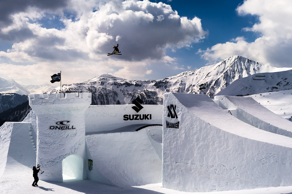 Lisa Zimmermann soars over the 2015 Nine Queens castle in Serfaus, Austria