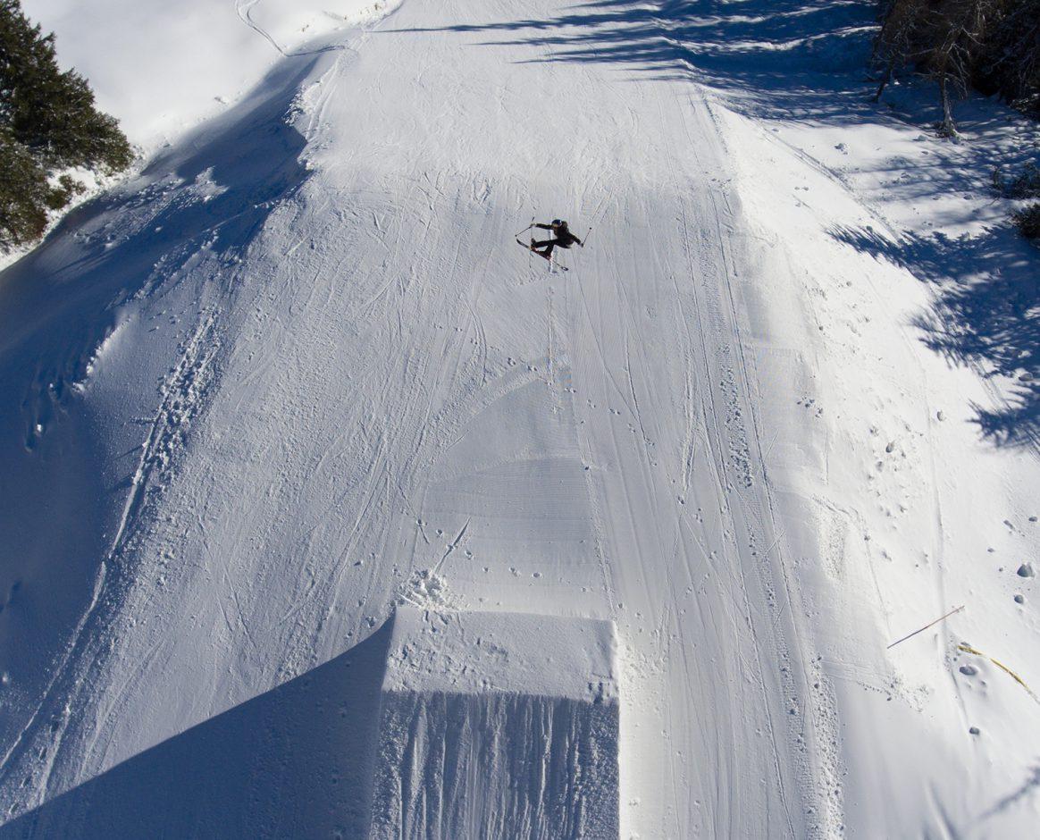 Lisa Zimmermann hitting a park jump
