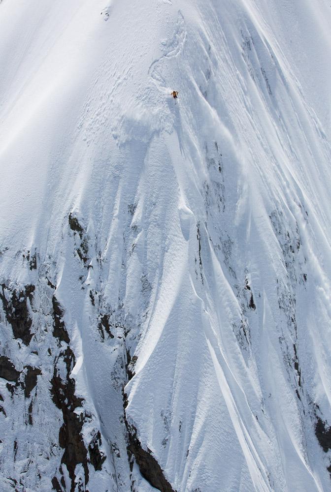Sam Anthamatten skis a technical big mountain line in Georgia. Photo: Tero Repo