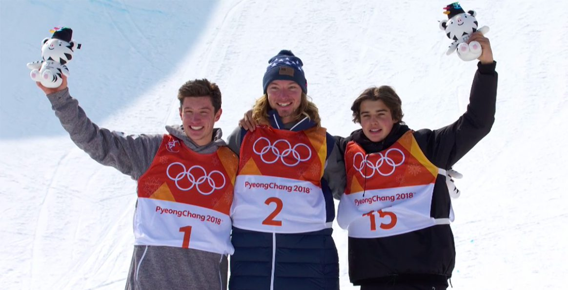 2018 Olympic Mens Ski Halfpipe medalists David Wise, Alex Ferreira and Nico Porteous