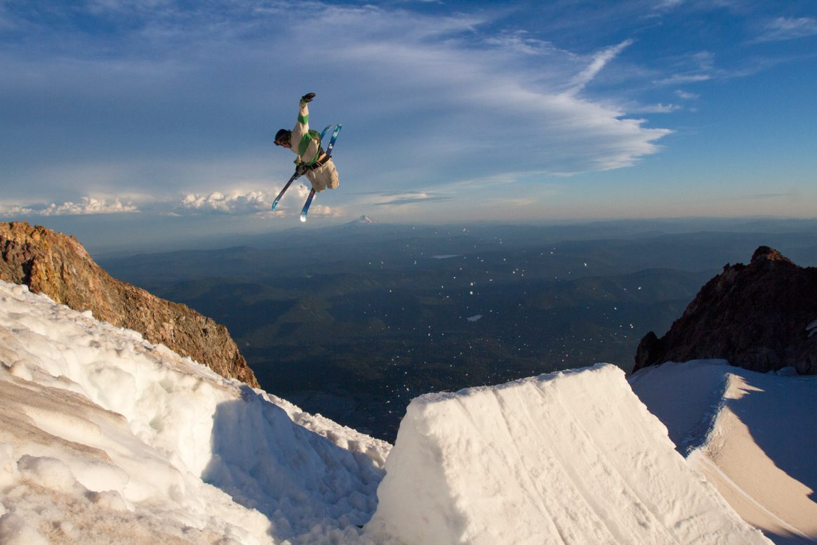 B-Mack Maximilliam Smith hits a jump at sunset on the Hogsback at Mt. Hood, Oregon. Photo Ethan Stone