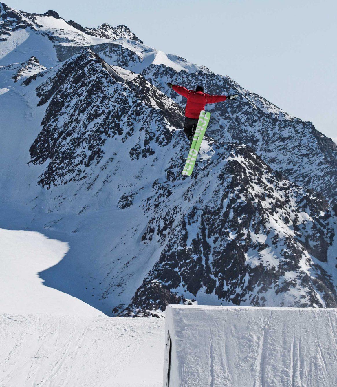 Rosina Friedel airs a jump at Stubai Glacier.