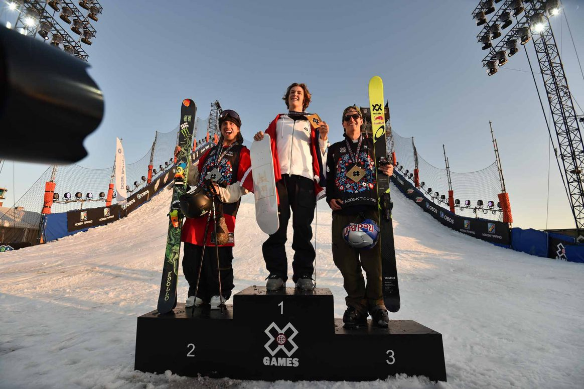 The mens Ski Big Air podium at X Games Norway 2018.