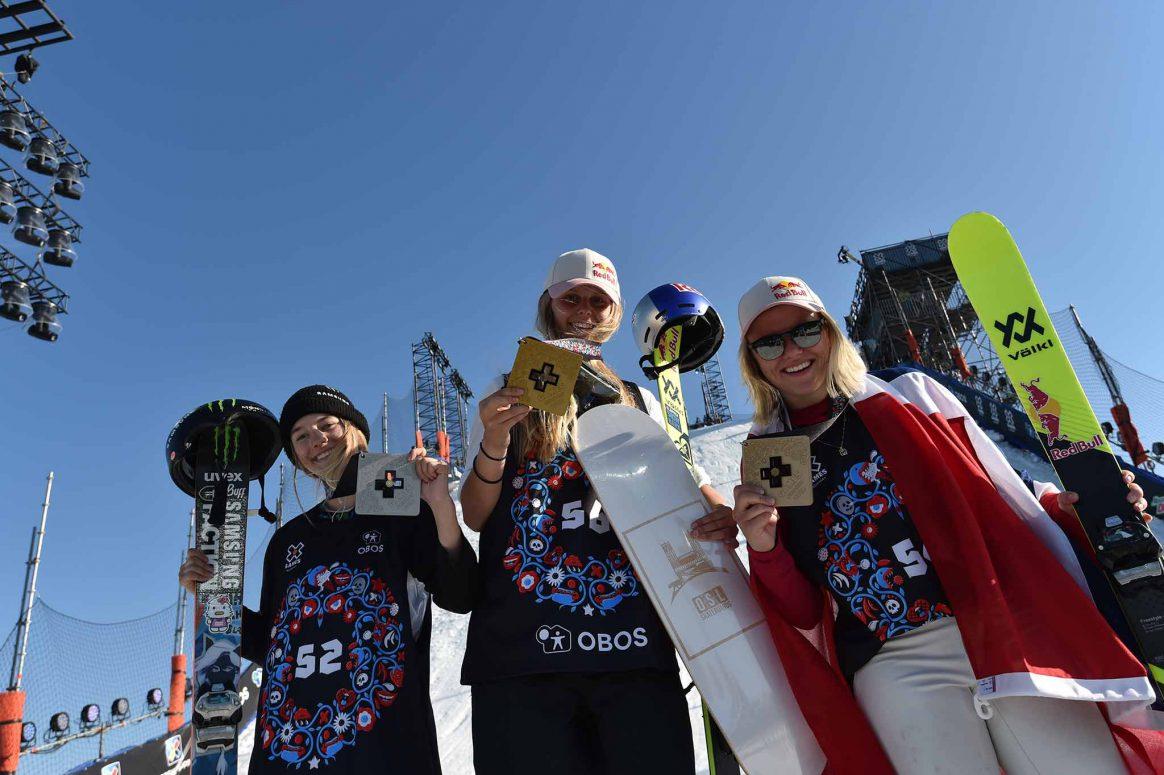 The womens Ski Big Air podium at X Games Norway 2018.
