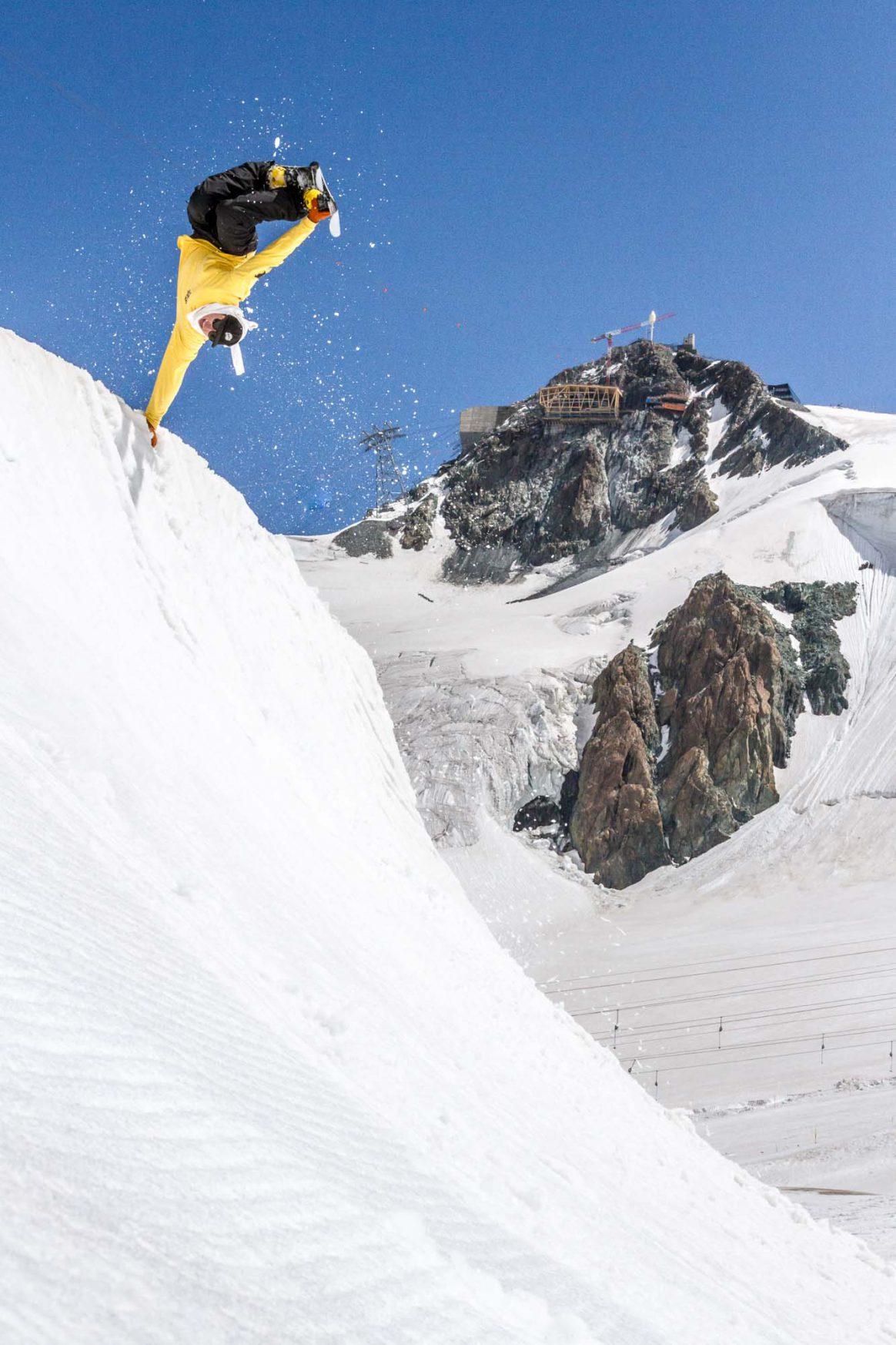 Erik Olson, handplant, Zermatt Summer Snowpark, Downdays, Ethan Stone