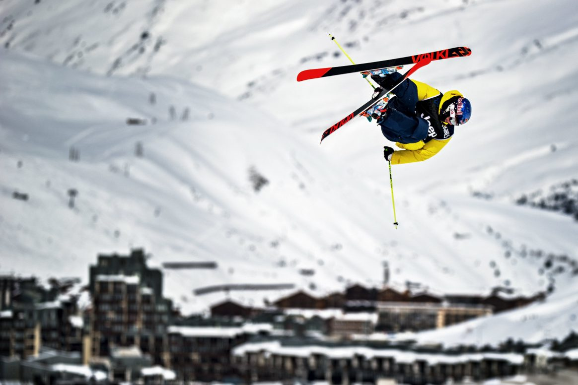 Russ Henshaw competes in the finals of the X Games Slopestyle in Tignes in 2013.