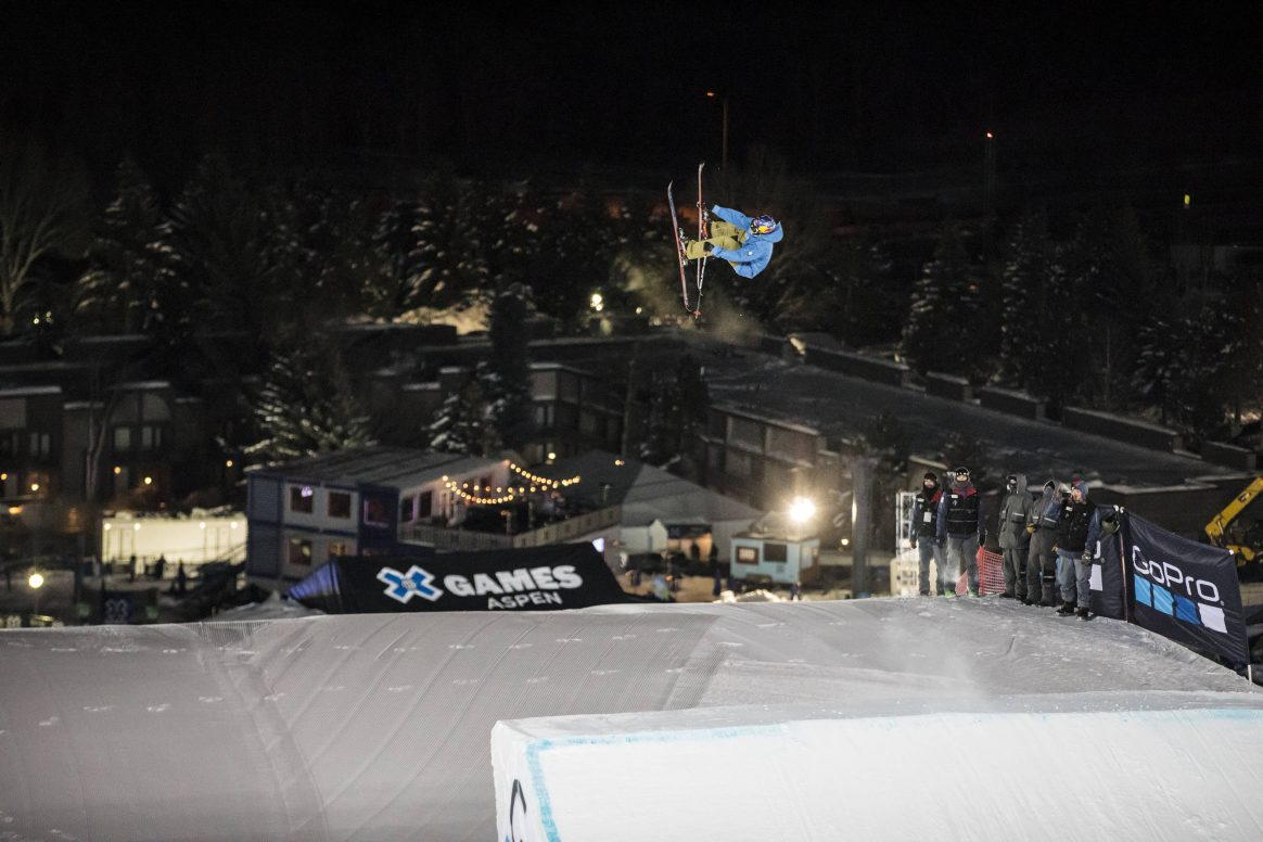 Elias Ambühl competes in X Games Big Air.