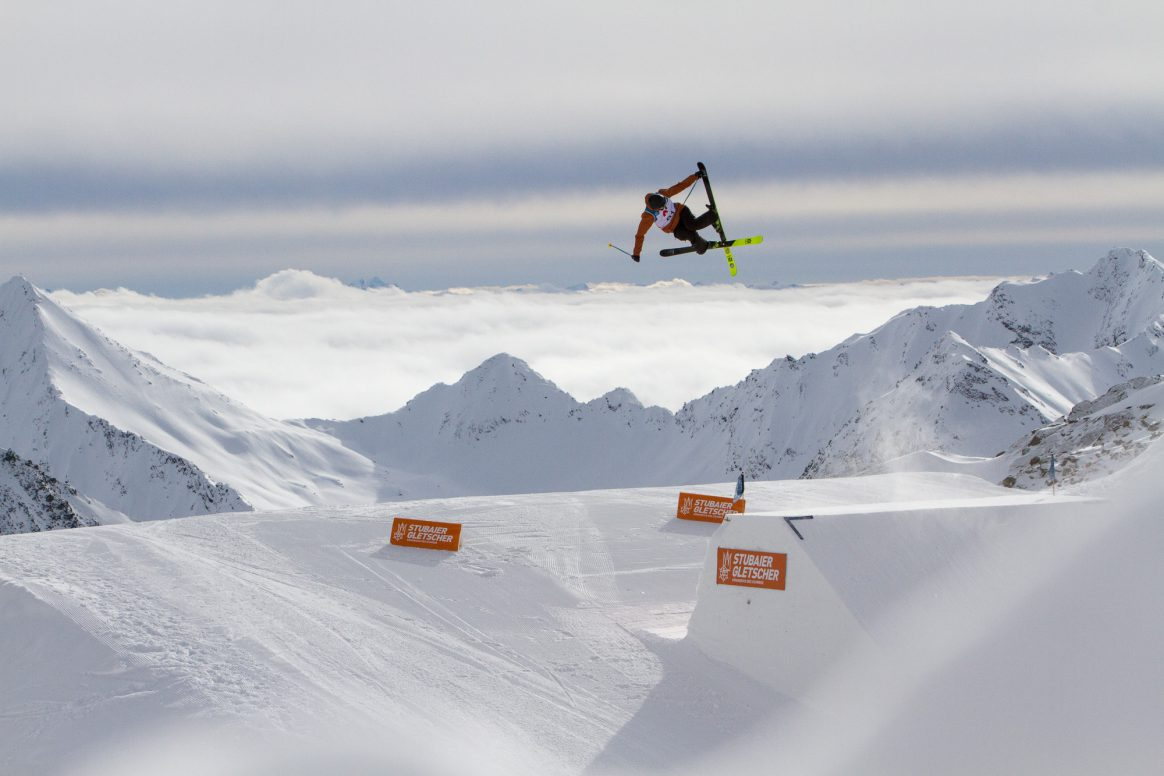 Andri Ragettli competes in the finals of the Freeski World Cup Slopestyle at the Stubai Glacier in Austria.