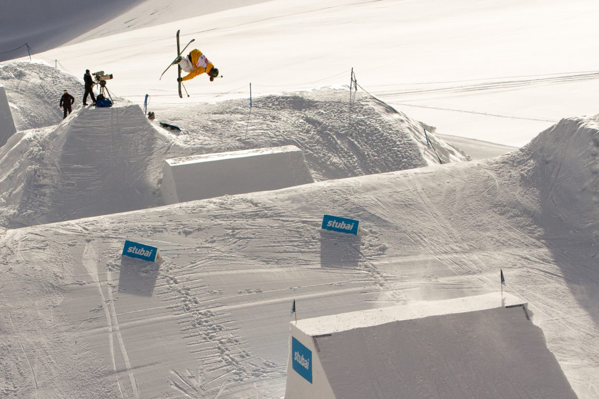 Henrik Harlaut competes in the 2018 Freeski World Cup on the Stubai Glacier in Austria.