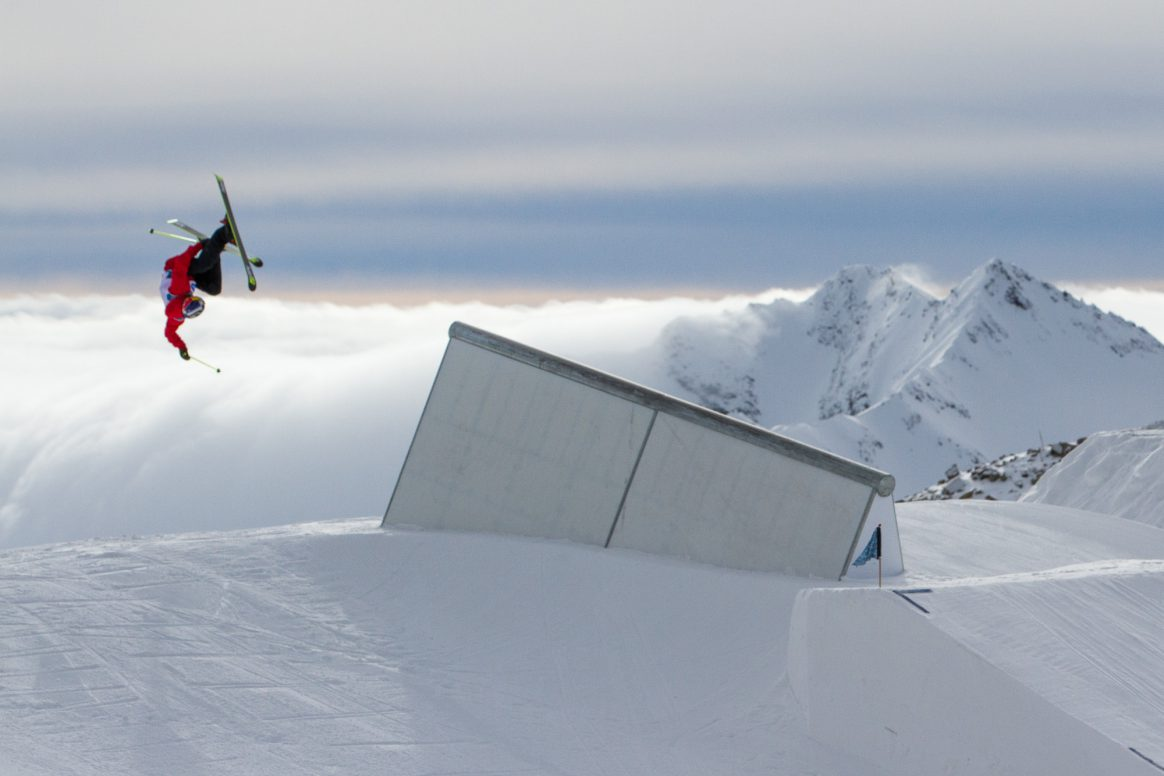 Jesper Tjäder competes in the finals of the Freeski World Cup slopestyle on the Stubai Glacier in Austria.