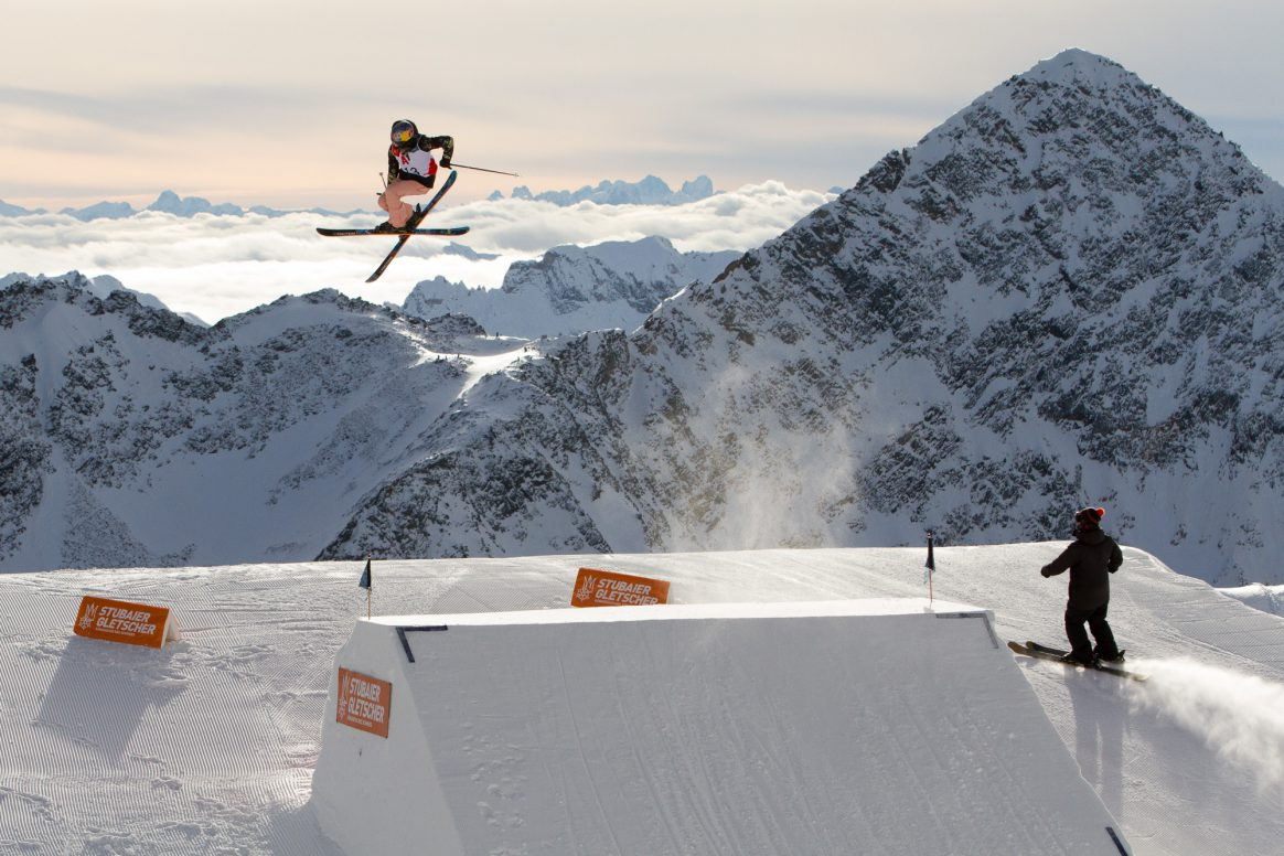 Kelly Sildaru competes in the 2018 Freeski World Cup Slopestyle on the Stubai Glacier in Austria.