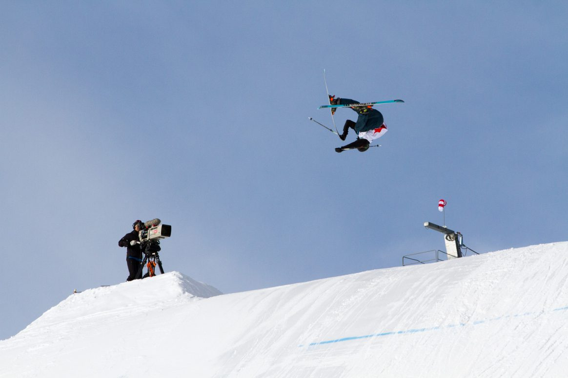 Max Moffatt competes at the Freeski World Cup Slopestyle on the Stubai Glacier in Austria.