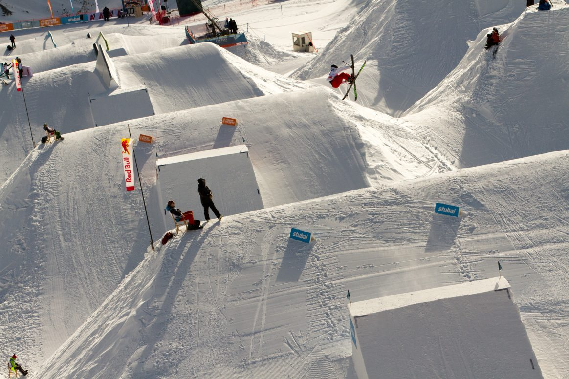Patrick Dew of Canada competes in the finals of the 2018 Freeski World Cup Slopestyle on the Stubai Glacier in Austria.
