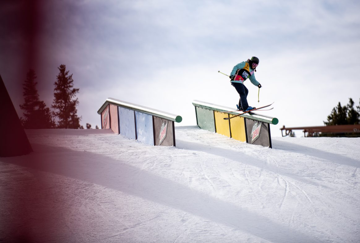 Sarah Hoefflin competes in the 2018 Dew Tour women's ski slopestyle event in Breckenridge, Colorado.