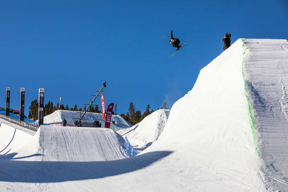 Aaron Blunck competes in modified superpipe at the 2018 Winter Dew Tour in Breckenridge Colorado