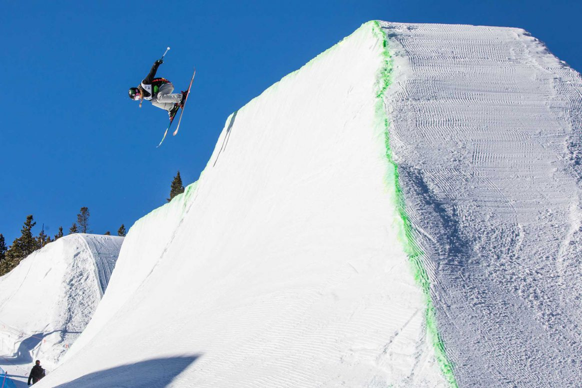 Abigale Hansen competes in the 2018 Dew Tour women's Modified Superpipe.