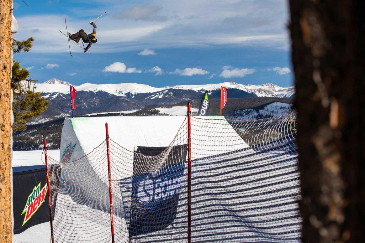 Alex Hall competes in ski slopestyle at the 2018 Winter Dew Tour in Breckenridge, Colorado