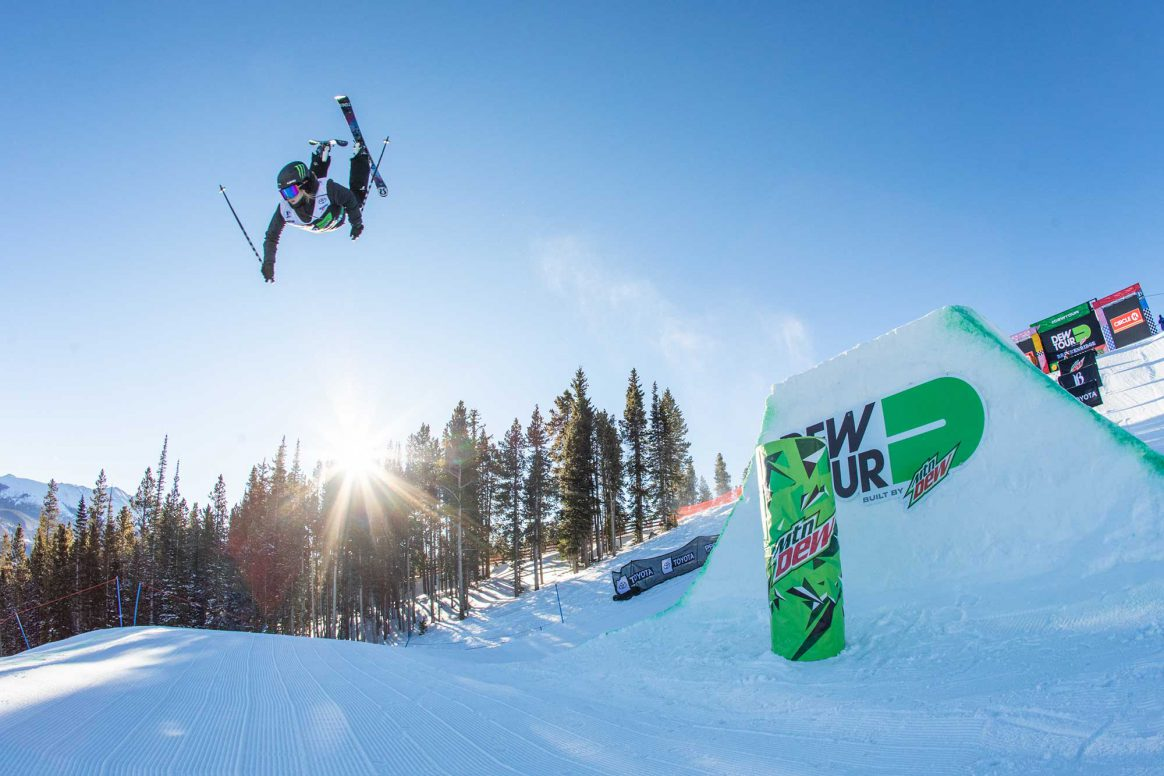 Cassie Sharpe floats a backflip during the 2018 Dew Tour women's Modified Superpipe contest.