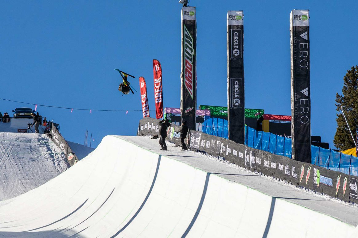 David Wise competes in Modified Superpipe at the 2018 Winter Dew Tour in Breckenridge Colorado