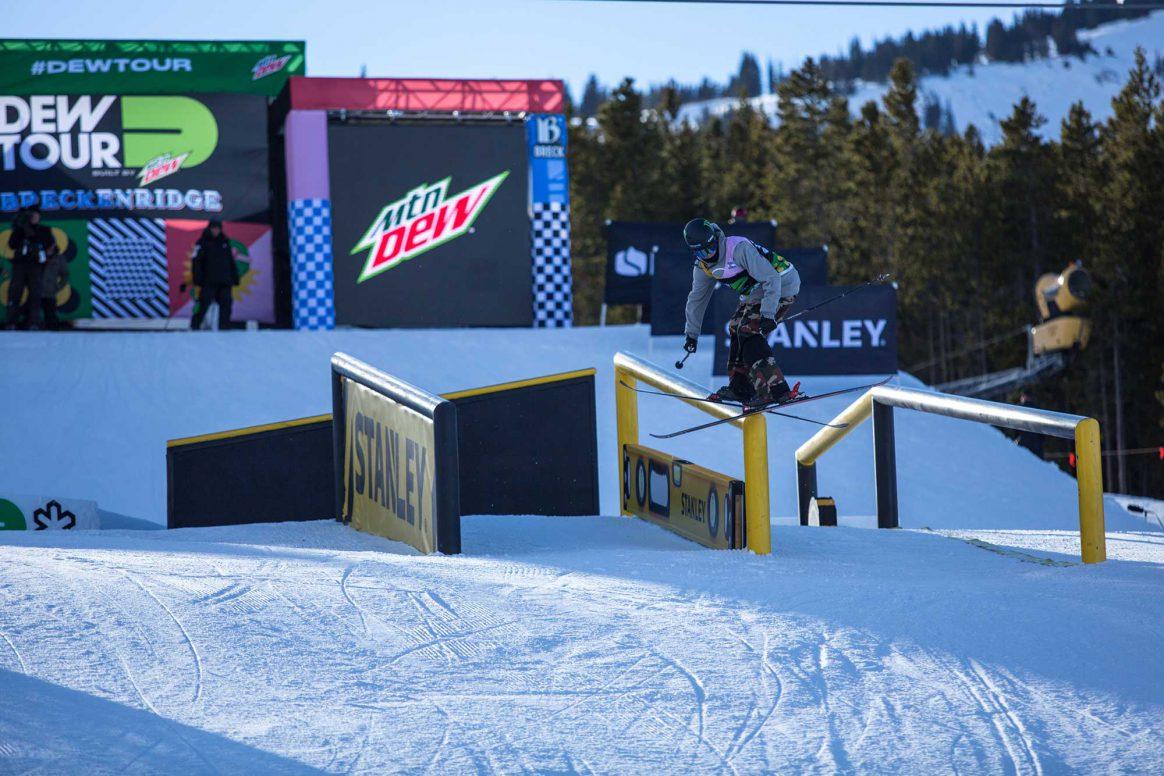Evan McEachran competes in ski slopestyle at the 2018 Winter Dew Tour in Breckenridge, Colorado