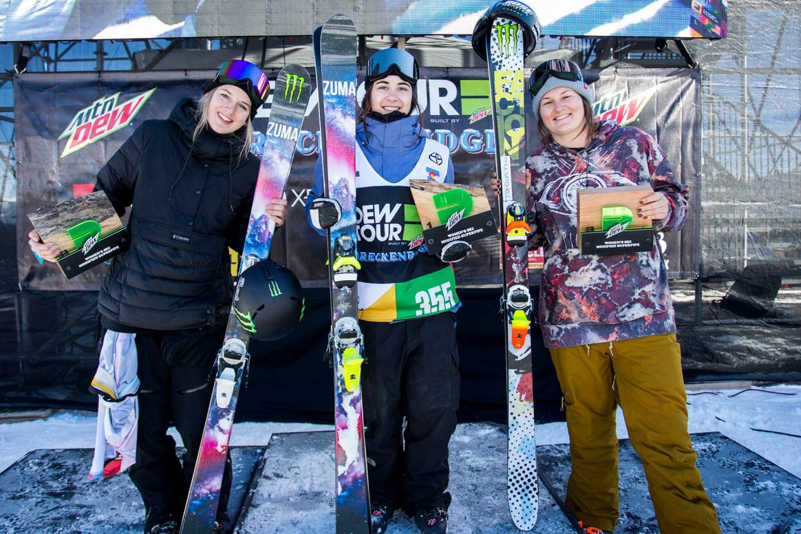 women's podium at the 2018 Dew tour modified superpipe contest.