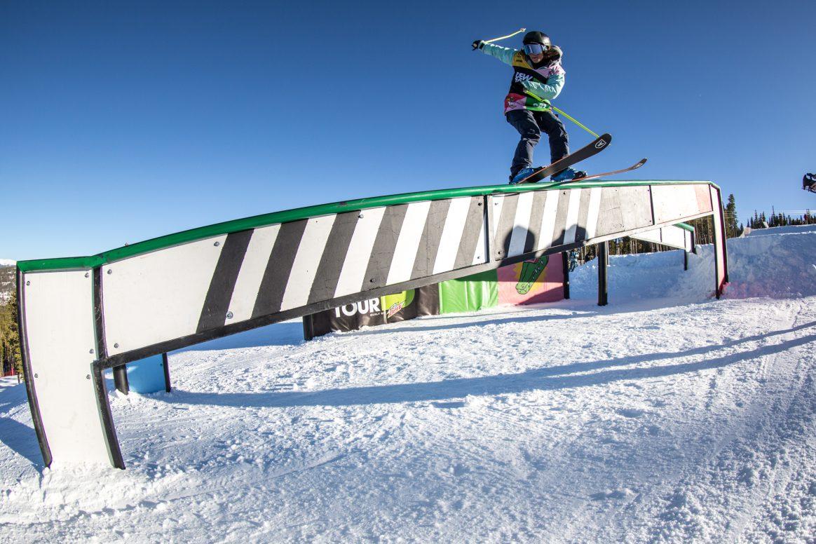 Sarah Hoefflin slides a rail at the Winter Dew Tour 2018 in Breckenridge, Colorado.