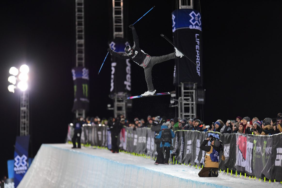 Aspen, CO - January 25, 2018 - Buttermilk Mountain: Simon D'Artois competing in LifeProof Men's Ski SuperPipe during X Games Aspen 2018