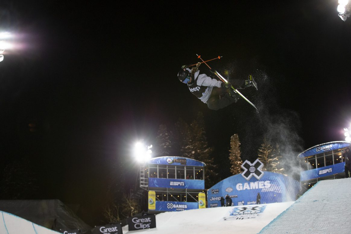 Aspen, CO - January 24, 2019 - Buttermilk Mountain: Maddie Bowman competing in Women's Ski SuperPipe during X Games Aspen 2019