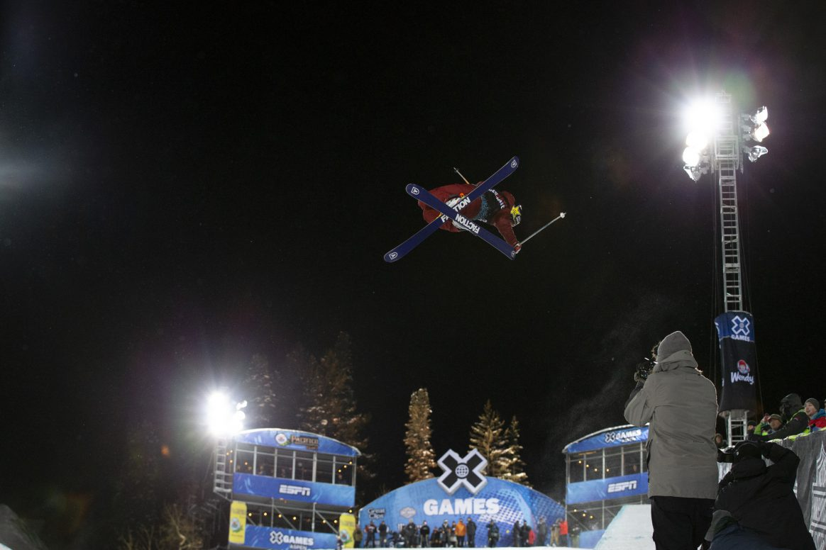 Aspen, CO - January 24, 2019 - Buttermilk Mountain: Alex Ferreira competing in Great Clips Men's Ski SuperPipe during X Games Aspen 2019