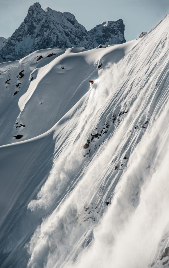 Nadine Wallner freeriding in Stuben am Arlberg, Austria.