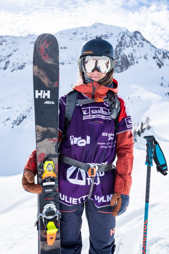 Juliette Willman at the Freeride World Tour event in Fieberbrunn, Austria