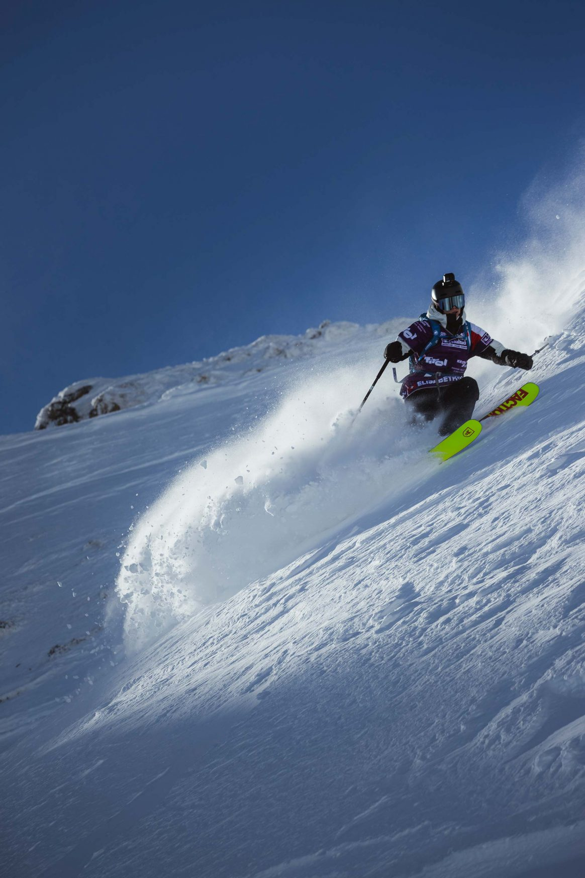 Elisabeth Gerritzen on her way to third place at the Freeride World Tour Stop in Fieberbrunn, Austria