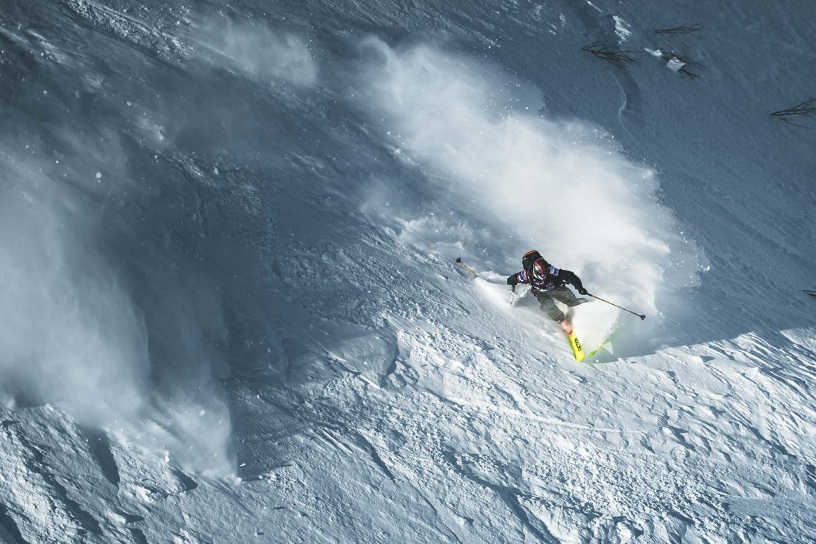Andrew Pollard on his way to second place at the Freeride World Tour in Fieberbrunn, Austria