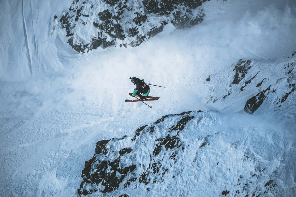 Leo Slemett takes 3rd place at the Freeride World Tour 2019 in Fieberbrunn, Austria