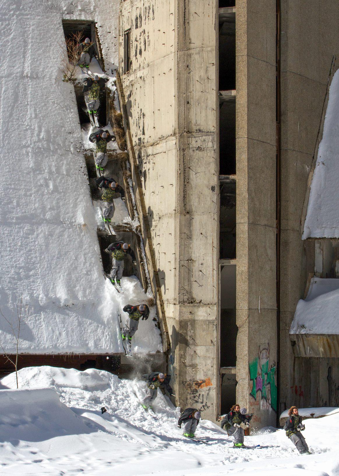Ahmet Dadali skiing in Sarajevo, Bosnia
