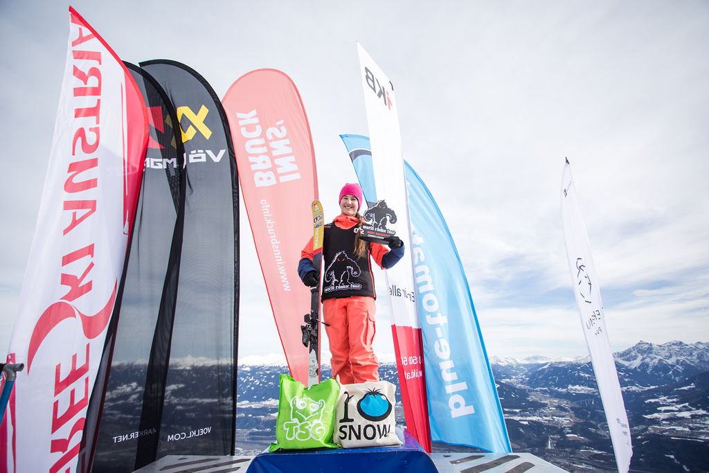 Ksenia Orlova wins the Girls Grom category at the Freeski World Rookie Tour in Innsbruck, Austria